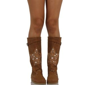 Shoes - Nag Camel Star Patch Knee High Boot